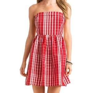 VINEYARD VINES   Strapless Red Gingham Dress